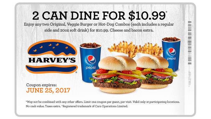 Two Can Dine For $10.99 At Harvey's Through June 25, 2017