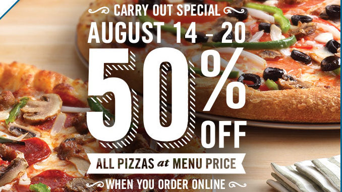Domino's Canada Offers 50% Off All Carty Out Pizzas Ordered Online Through August 20, 2017