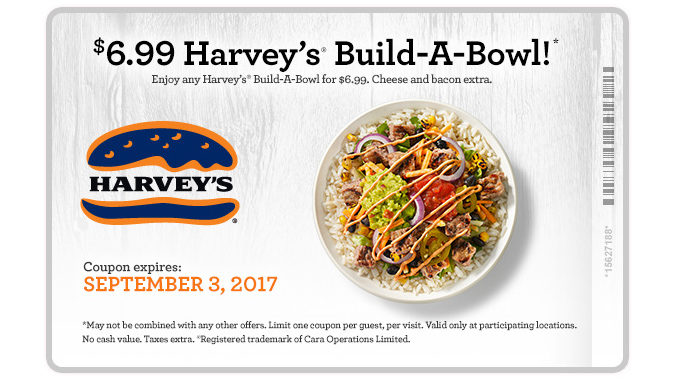 Get Any Build-A-Bowl At Harvey's For $6.99 Through September 3, 2017