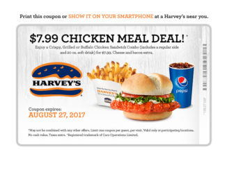Harvey's Offers $7.99 Chicken Meal Deal Through August 27, 2017