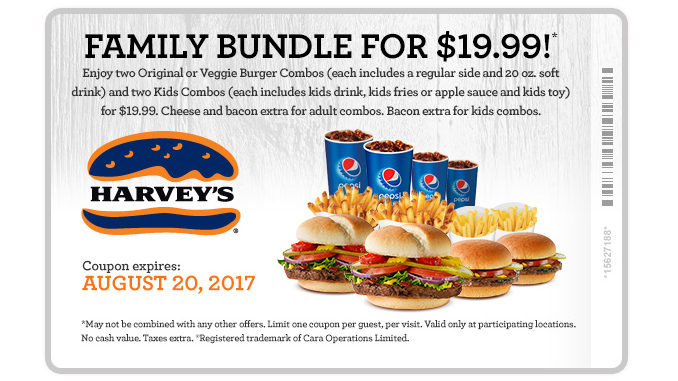 Harvey's Serves $19.99 Family Bundle Deal Through August 20, 2017