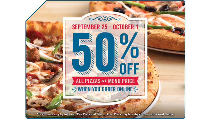 50% Off All Pizzas Ordered Online At Domino's Canada Through October 1, 2017