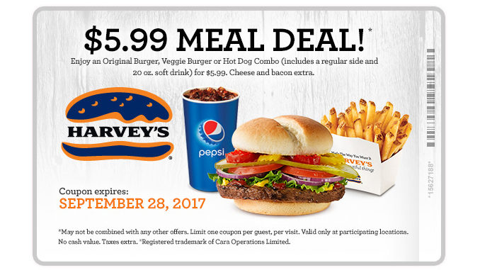 Harvey's Offers $5.99 Meal Deal Through September 28, 2017