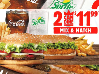 Burger King Canada Offer 2 Can Dine For $11.99 Mix And Match Deal