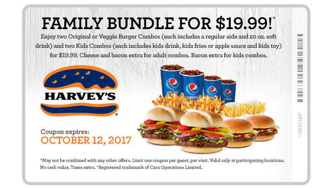 Get A $19.99 Family Bundle Deal At Harvey's Through October 12, 2017