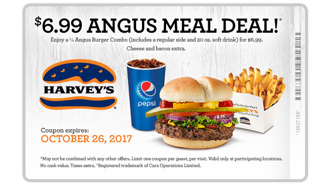 Harvey's Offers $6.99 Angus Meal Deal Through October 26, 2017