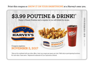 Harvey's Offers Poutine And A Drink For $3.99 Through November 2, 2017
