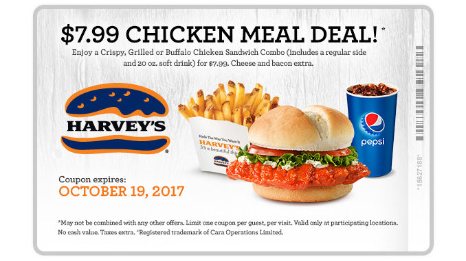 Harvey's Serves Up $7.99 Chicken Meal Deal Through October 19, 2017