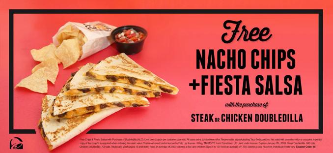 Free Nacho Chips and Fiesta Salsa