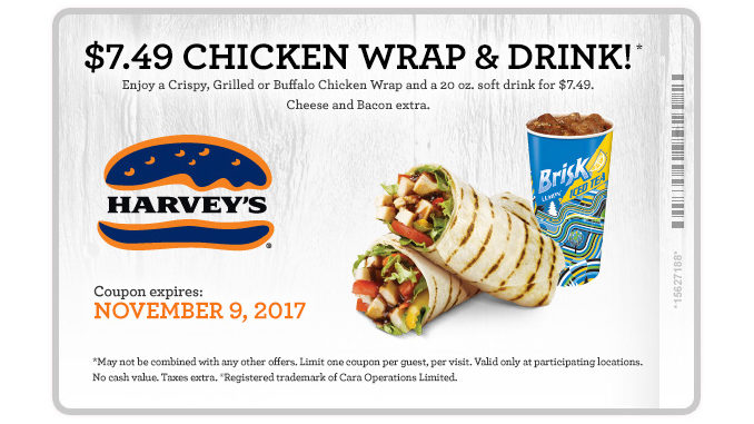 Harvey's Offers $7.49 Chicken Wrap And Drink Deal Through November 9, 2017