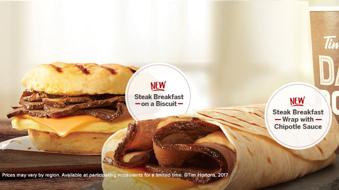 Tim Hortons Unveils New Steak Breakfast Wrap And Steak Breakfast Sandwich