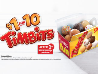 $1 For 10 Timbits With Drink Purchase At Tim Hortons Through December 26, 2017