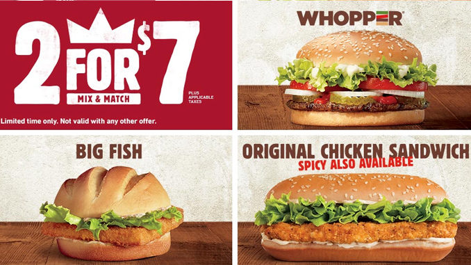 Burger King Canada Introduces New 2 For $7 Mix & Match Deal