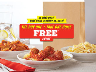 Buy One, Take One Home Free Event Is Back At East Side Mario's Through January 21, 2018