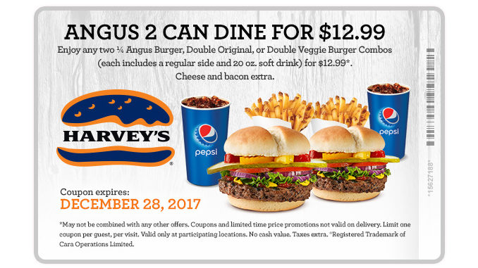 Harvey's Offers 2 Can Dine For $12.99 Angus Meals Through December 28, 2017