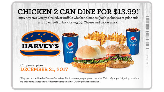Harvey's Offers 2 Can Dine For $13.99 Chicken Combo Deal