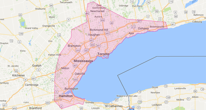 Lyft's Ontario coverage area