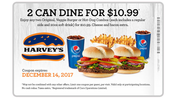Two Can Dine For $10.99 At Harvey's Through December 14, 2017