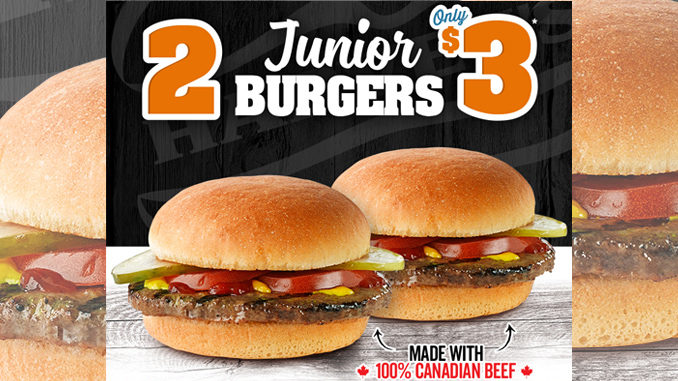 Harvey's Offers 2 Junior Burgers For $3