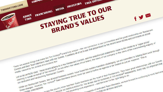 Tim Hortons Responds To 'Rogue' Franchisees In Terse Statement