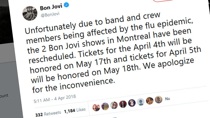 Bon Jovi Reschedules Montreal Shows After Members And Crew Hit With Flu