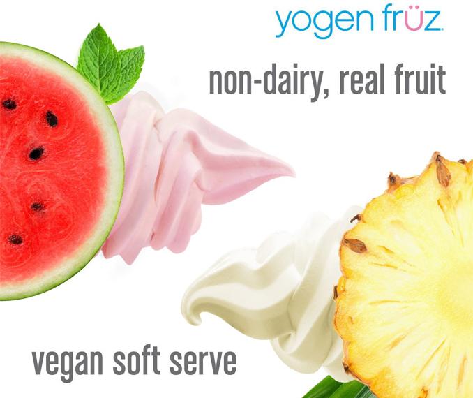 vegan Pineapple soft serve and vegan Watermelon Mint soft serve