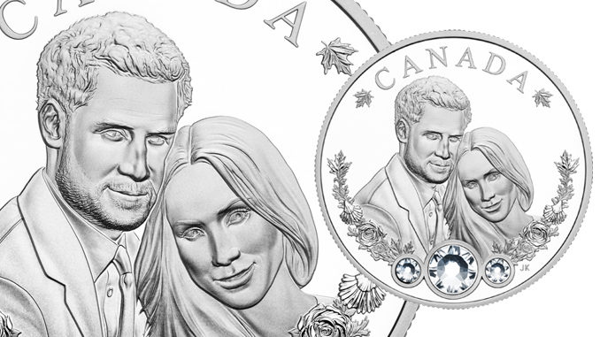 Mint Unveils Commemorative Royal Wedding Coin Featuring Swarovski Crystals And Canadian Maple Leaves