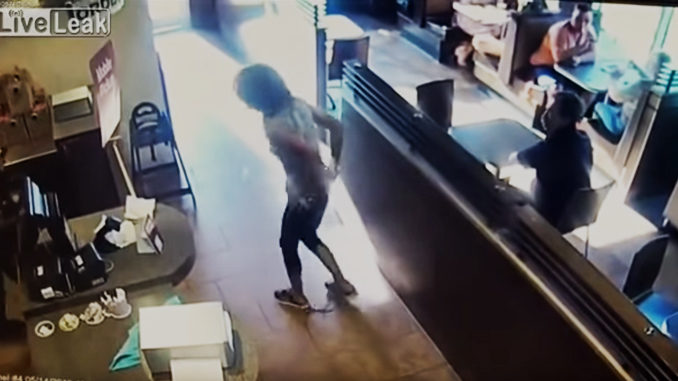 Enraged customer throws own faeces at staff member
