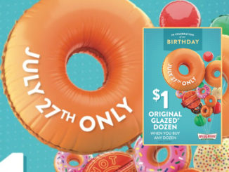Get A Dozen Original Glazed Doughnut Dozens For $1 With Purchase Of Any Dozen At Krispy Kreme On July 27, 2018