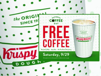 Free Any Size Coffee At Krispy Kreme Canada On September 29, 2018