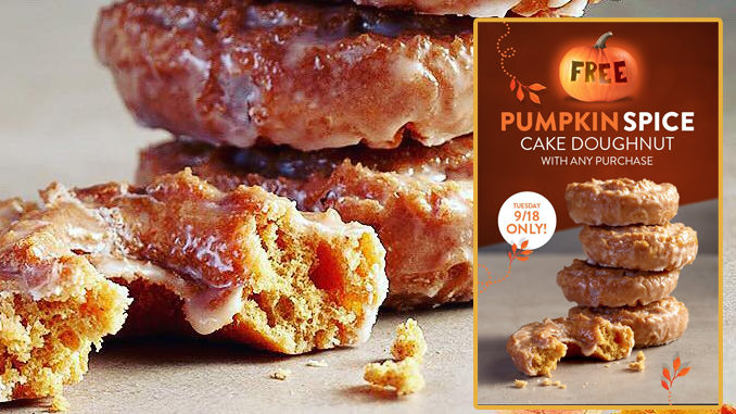 Free Pumpkin Spice Doughnut With Any Purchase At Krispy Kreme Canada On September 18, 2018
