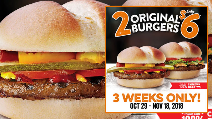 Harvey's Offers 2 Original Burgers For $6 Through November 18, 2018