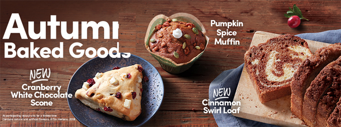 Tim Hortons Autumn Baked Goods