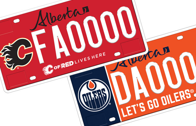 Alberta Unveils New Flames And Oilers Licence Plates