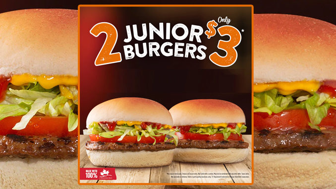 Harvey's Offers 2 Junior Burgers For $3 Through January 27, 2019