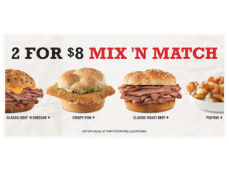 Arby's Canada Offers 2 For $8 Mix 'N Match Deal