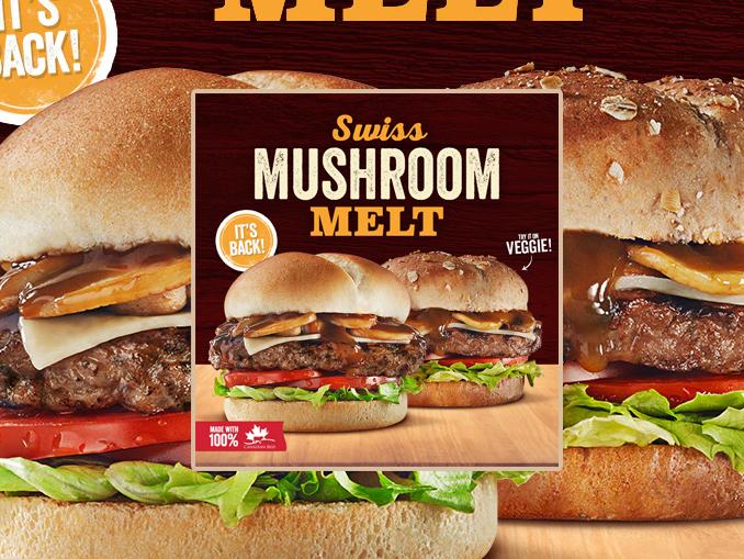 Harvey's Welcomes Back Swiss Mushroom Melt Burger