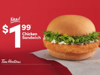 Tim Hortons Introduces New $1.99 Chicken Sandwich