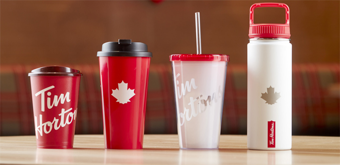 Tim Hortons reusable drinkware