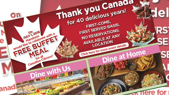 'Canadian Citizens' Eat Free At Mandarin Restaurants On July 1, 2019