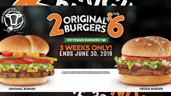 Harvey's Offers 2 Original Burgers Or 2 Veggie Burgers For $6 Through June 30, 2019