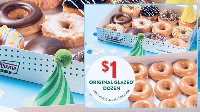 $1 Original Glazed Dozen With Any Dozen Purchase At Krispy Kreme Canada On July 19, 2019