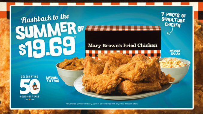 Mary Brown's Celebrates 50 Years With Flashback To The Summer Of $19.69 Deal