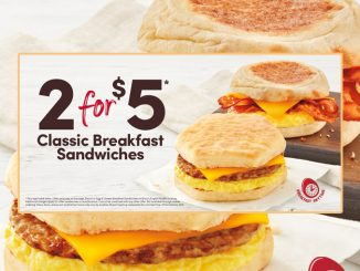 Tim Hortons Offers 2 Classic Breakfast Sandwiches For $5