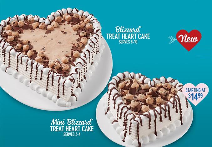 Double Fudge Cookie Dough Blizzard Treat Heart Cakes