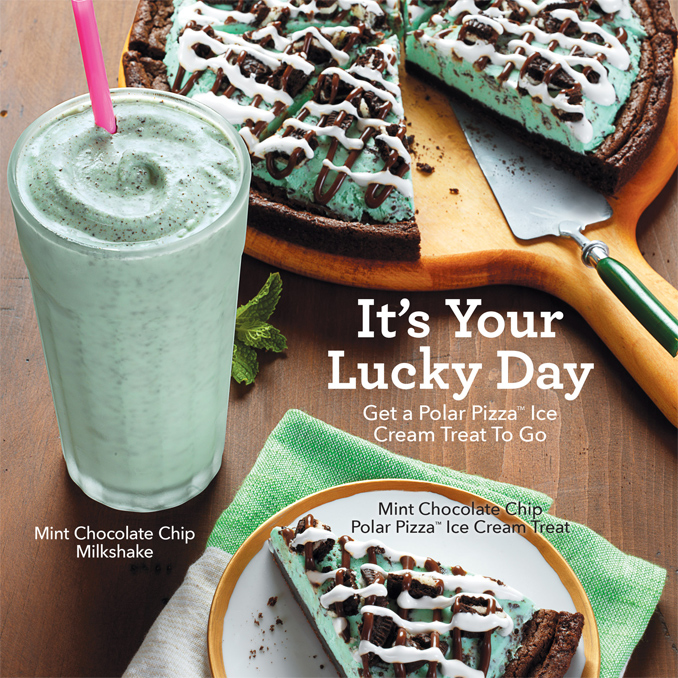 Mint Chocolate Chip Polar Pizza as well as a Mint Chocolate Chip Milkshake