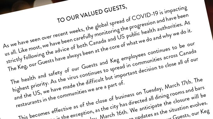 The Keg Announces Closure Of All Restaurants Across Canada Due To COVID-19