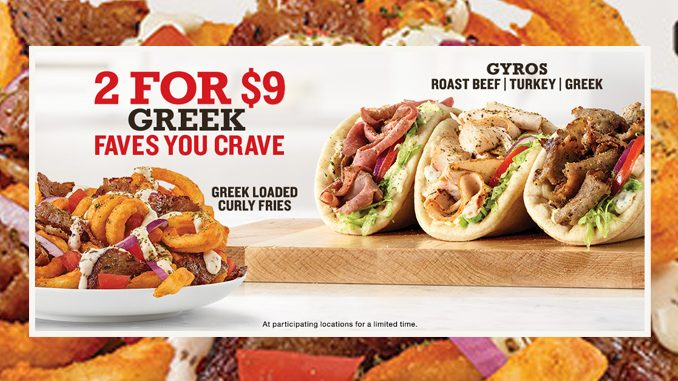 Arby's Canada Offers 2 For $9 Greek Faves Deal
