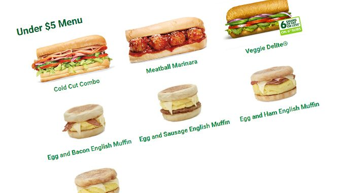Subway Canada Introduces New Under $5 Menu