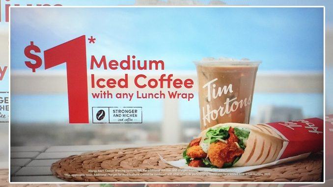 Tim Hortons Offers $1 Medium Iced Coffee With Any Lunch Wrap Purchase